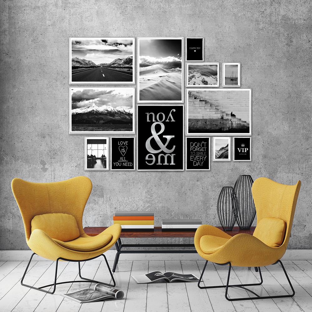 Galeria Plakatów Ze Srebrnymi Napisami I Krajobrazami