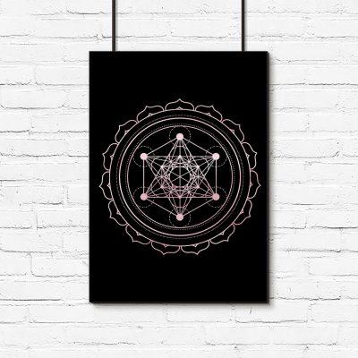 plakat z geometrycznym kwiatem