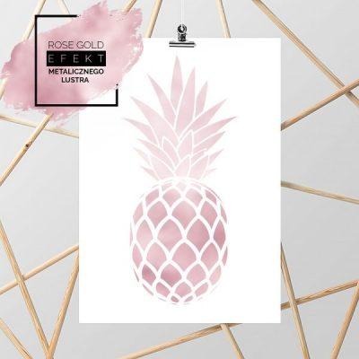 Plakat rose gold z ananasem