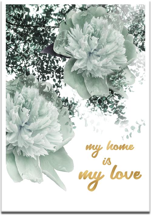 plakat z kwiatami i napisem