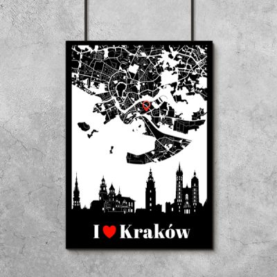 Kraków na plakacie czarno-białym