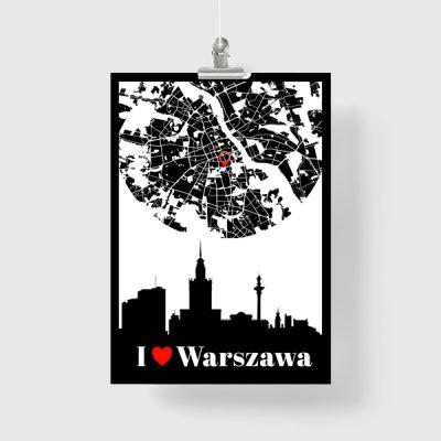 pionowy plakat z Warszawą