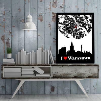 pionowa dekoracja z motywem Warszawy