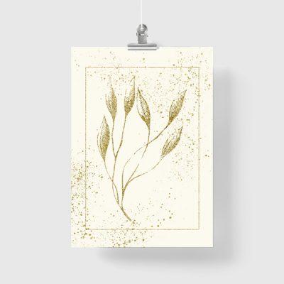 roślina na plakacie złotym