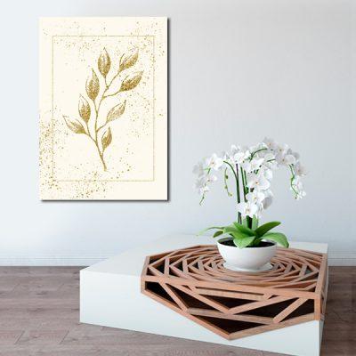 plakat z motywem złotych liści