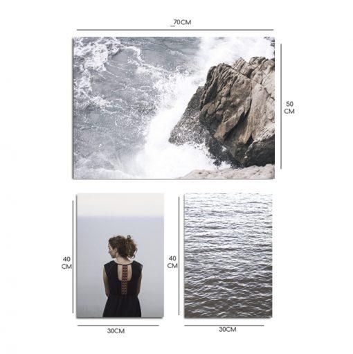 plakaty w zestawie morze i kobieta