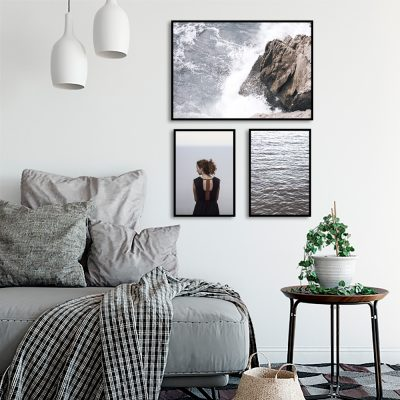 plakaty zestaw kobieta, morze, skały