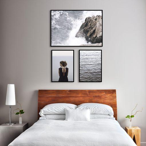 nowoczesny zestaw plakatów na ścianę do sypialni
