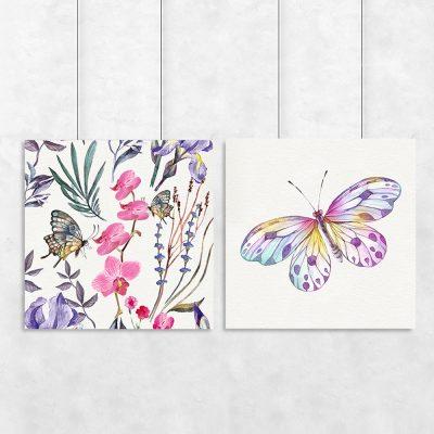 plakaty z kolorowymi motylami vintage