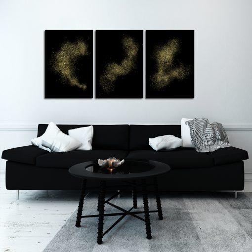 Czarny plakat tryptyk do salonu