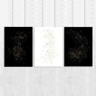 Plakat tryptyk w kolorze czarno-białym