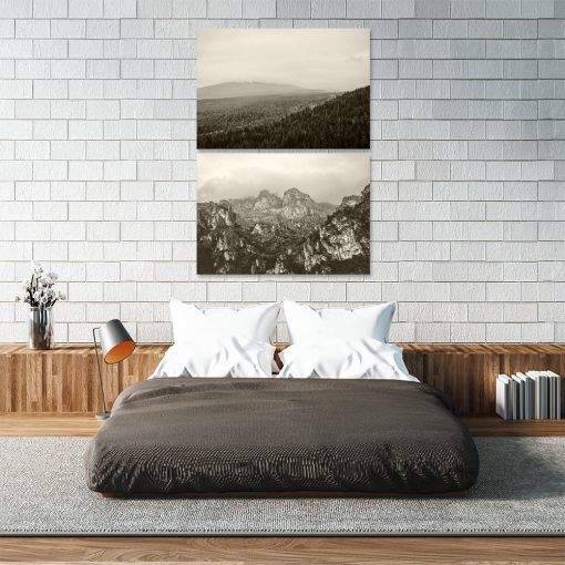 Plakat z motywem gór do sypialni