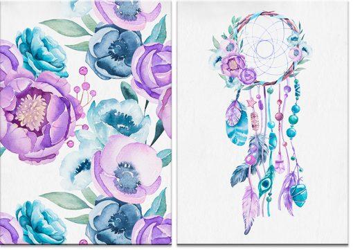 kolorowe kwiaty na plakacie