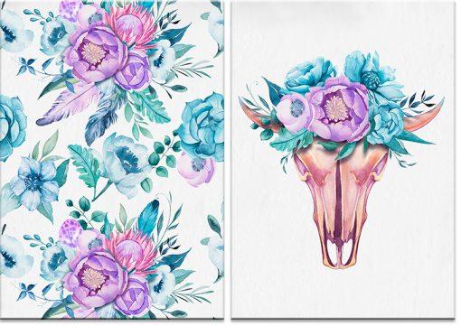 motyw kolorowych kwiatów na dyptyku