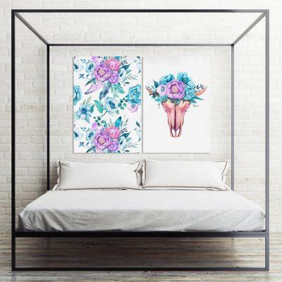 plaklaty dwa kolorowe z motywem kwiatów