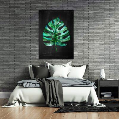 Obraz z zielonym liściem do sypialni