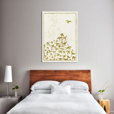 plakat z motywem lecących ptaków