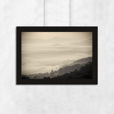 plakat w sepii z górami