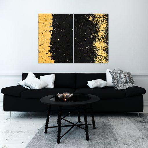 Abstrakcyjny obraz dyptyk do salonu