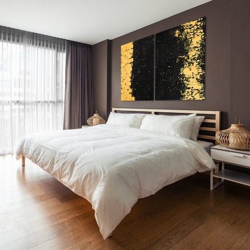 Czarno-żółty obraz do sypialni