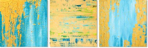 Niebiesko-żółty zestaw trzech obrazów