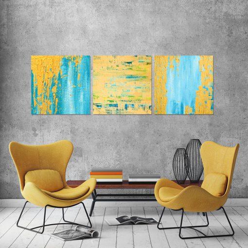 Obraz z niebiesko-żółtą abstrakcją do salonu