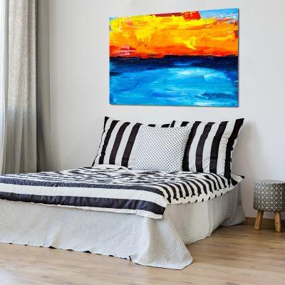 Obraz z niebiesko-pomarańczowym motywem