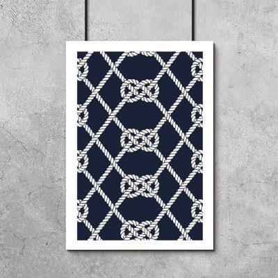 Plakat z motywem węzłów żeglarskich