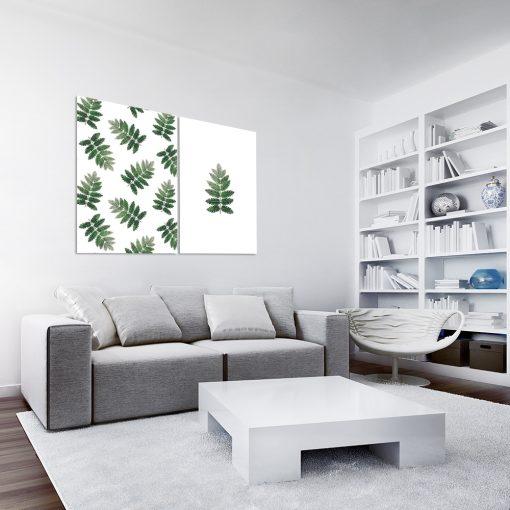 Plakat dyptyk z motywem liści do dekoracji salonu