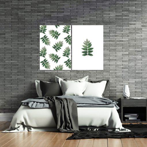 Plakat dyptyk z motywem liści do sypialni