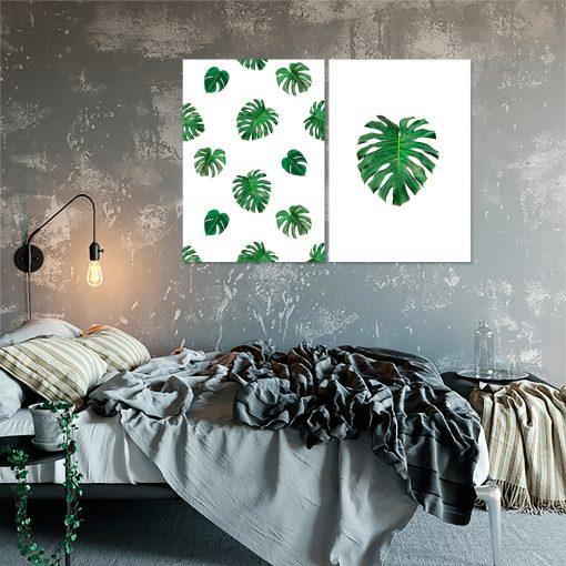 Plakat z motywem liści do sypialni