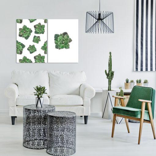 Zielony plakat dyptyk do dekoracji salonu