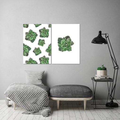 Plakat z motywem zielonych kwiatów do salonu