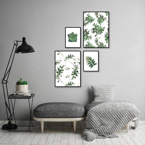 zestaw plakatów tropikalne liście