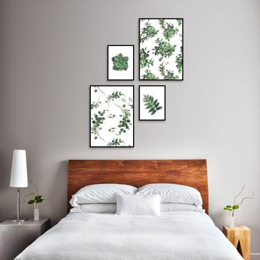 zielone listki zestaw plakatów do sypialni