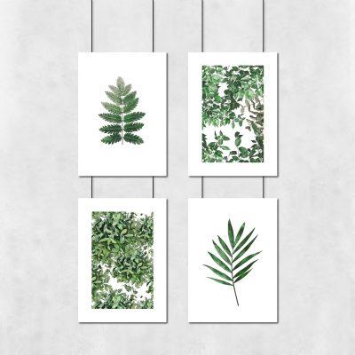 plakaty zielone liście zestaw