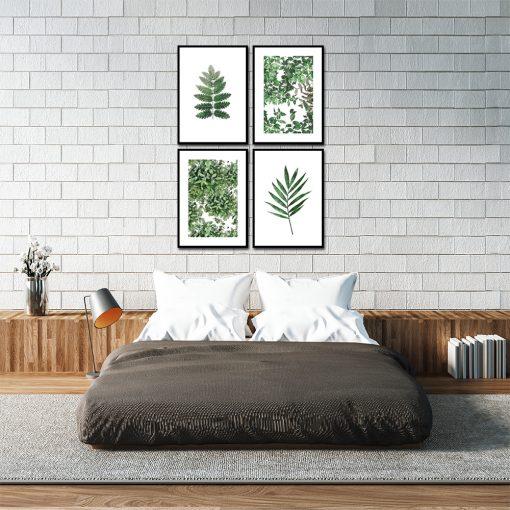 zestaw botanicznych plakatów do sypialni