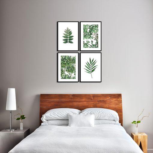 plakaty z zielonymi listkami na ścianę do sypialni