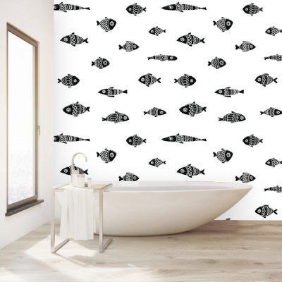 Biała tapeta na ścianę do łazienki