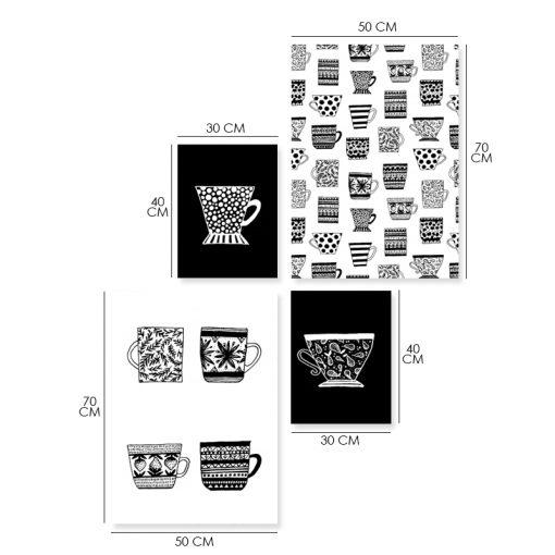Czarno-biały zestaw czterech plakatów