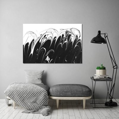 Obraz z czarno-białą abstrakcją