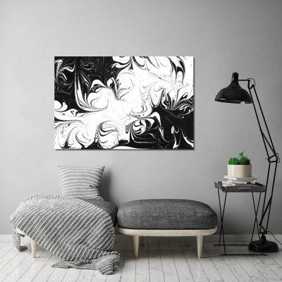 Obraz z czarno-białym motywem do salonu