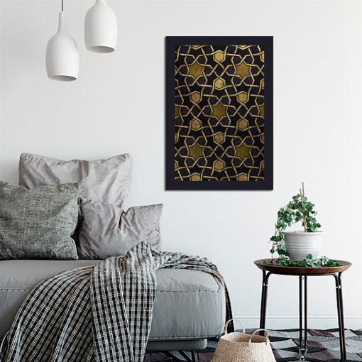 Plakat w kolorze czarnym z żółtą mozaiką