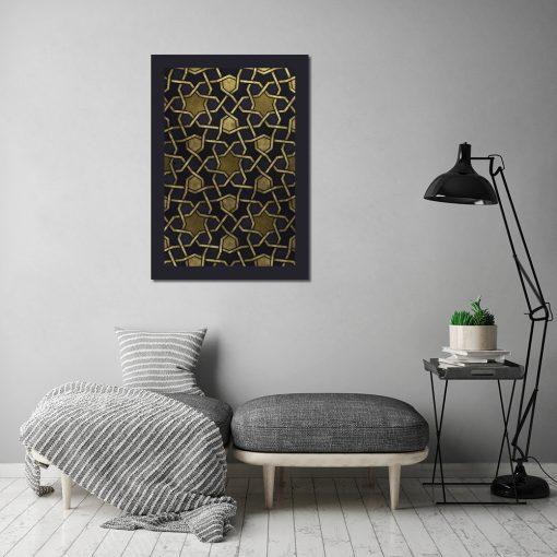 Plakat z żółtym wzorem do salonu