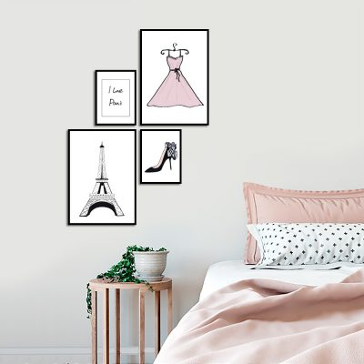 zestaw plakatów do ozdoby sypialni