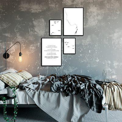 Skandynawski zestaw plakatów do sypialni