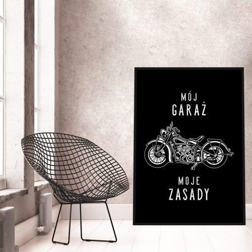 Plakat czarno-biały do garażu