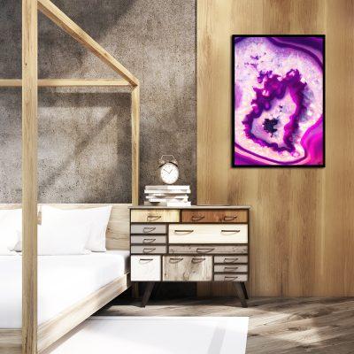 Różowy plakat na ścianę do sypialni