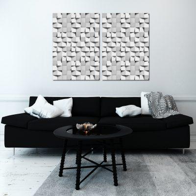 Podwójny plakat w kwadraty do salonu