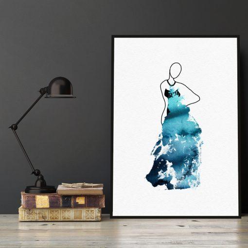 Plakat ze szkicem kobiety w sukni